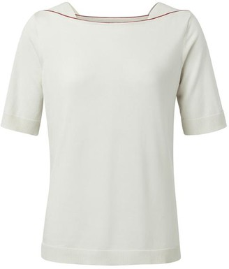 Ya-Ya White Sand Boat Neck Knitted T Shirt - X Small