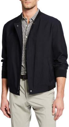 Salvatore Ferragamo Men's Wool-Silk Bomber Jacket with Logo Lettering