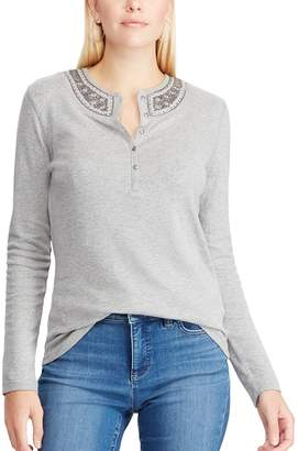 Chaps Women's Embellished Henley Top