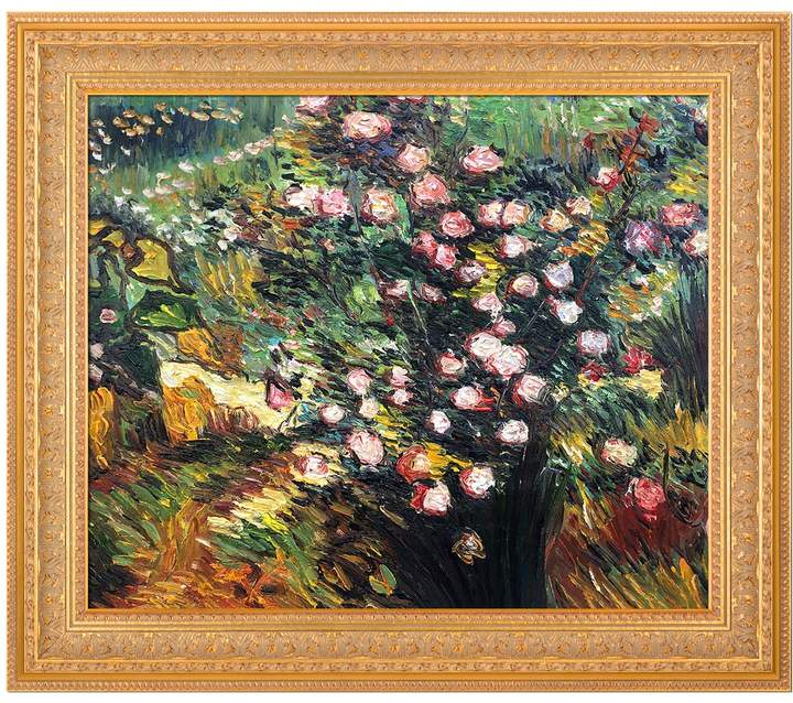 Overstock Art Rosebush in Blossom by Vincent Van Gogh (Framed Canvas)