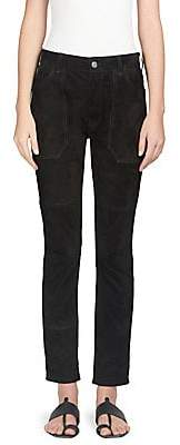 Saint Laurent Women's Suede Worker Jeans