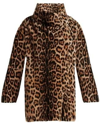 Yves Salomon Leopard Print Reversible Shearling Coat - Womens - Leopard