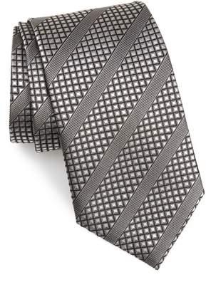 David Donahue Diagonal Stripe Silk Tie