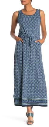Max Studio Patterned Drawstring Waist Maxi Dress