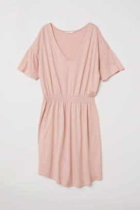 H&M Jersey Dress with Smocking - Pink