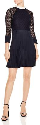Sandro Battements Pleated Lace-Detail Dress