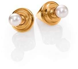Vita Fede Double Titan 5MM White Pearl Two-Sided Earrings