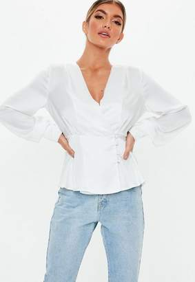 Missguided White Satin Frill Button Front Blouse