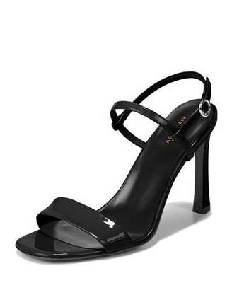 Via Spiga Ren Shiny Leather Sandals, Black