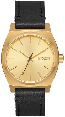 Nixon Medium Time Teller Leather - Gold/Black