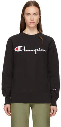 Champion Reverse Weave Black Logo Sweatshirt