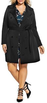 City Chic Plus Lace-Up Back Trench Coat