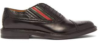 Gucci Chuck Perforated Gg Leather Brogues - Mens - Black Multi