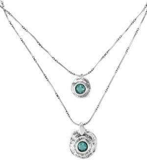 Uno de 50 Azteca Silverplated Matte Blue Swarovski Crystal Layered Pendant Necklace