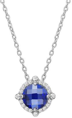 Lafonn Platinum Plated Sterling Silver Simulated Diamond & Lab-Grown Blue Sapphire Pendant Necklace