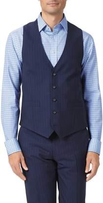 Charles Tyrwhitt Navy Adjustable Fit Panama Stripe Business Suit Wool Vest Size w42