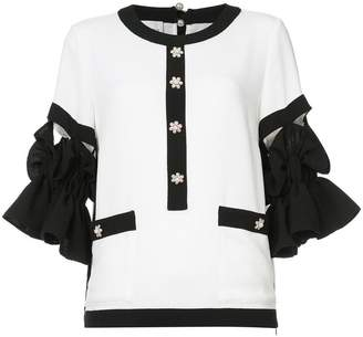 Edward Achour Paris embellished contrast blouse