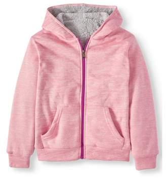 Bocini Marled Plush Zip Hooded Jacket with Sherpa Lining (Little Girls & Big Girls)