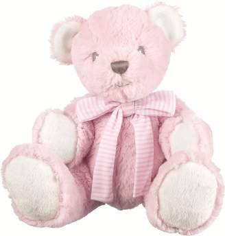 Suki Baby Hug-a-Boo Super Soft Plush Bear with Rattle in Tummy and Striped Cotton Bow (Small
