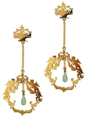 "Gold Plated & Apatite Crown Stud Earrings ""Army of Angels"""
