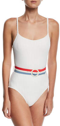 Solid and Striped The Nina Belted Ribbed Solid One-Piece Swimsuit, White