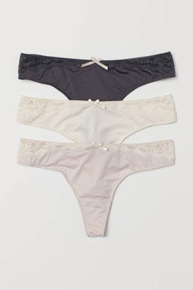 H&M 3-pack Microfiber Thong Briefs - Pink