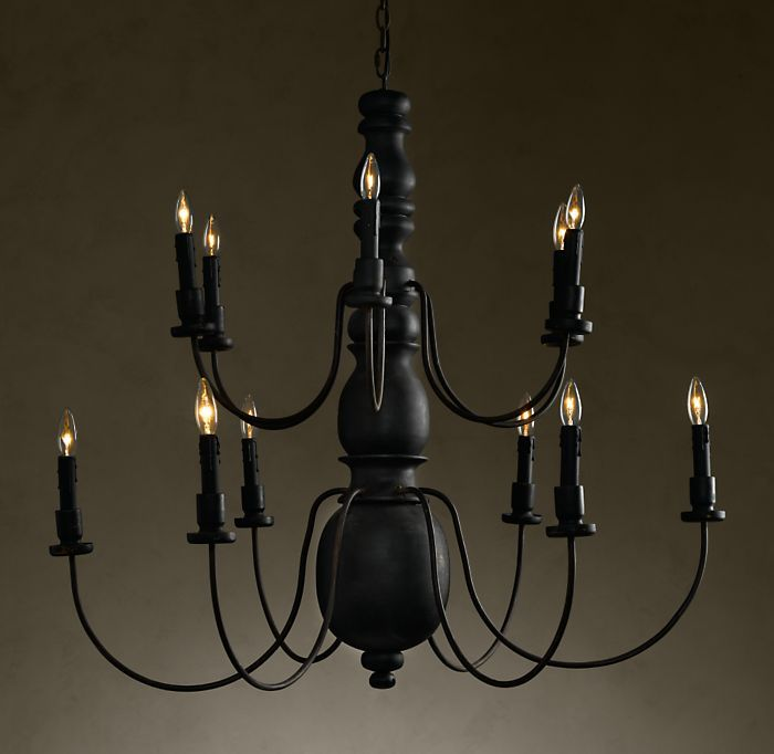 Vintage Two-Tier Baluster Chandelier