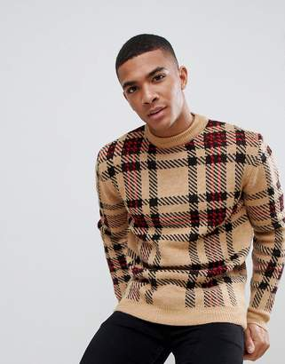 New Look sweater with check detail in camel