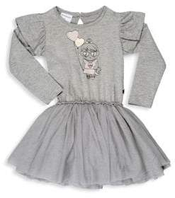 Huxbaby Little Girl's Frill Sleeve Girl Print Tutu Dress