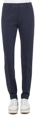 Akris Punto Akris punto Fabiana Waffle Straight-Leg Pants, Blue Denim/Black