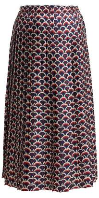Valentino Pleated Midi Skirt - Womens - Navy Multi