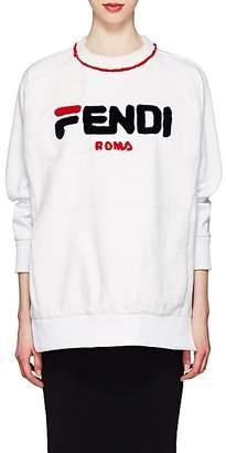 "Fendi Women's Mania"" Cotton & Mink Fur Sweatshirt - White"