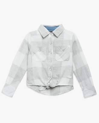 7 For All Mankind Girls 4-6x Tie Front Shirt in Grey Plaid