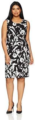 Kasper Women's Size Plus Floral Crepe Sheath Dress