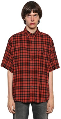 Balenciaga Washed Plaid Lightweight Flannel Shirt
