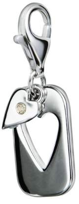 Hot Diamonds Diamond Charm, Sterling Silver, Round Brilliant Cut, 0.01 Carat Diamond Weight, Model DT006,