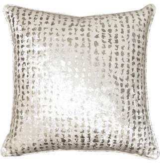 Square Feathers Silver Dots Accent Pillow