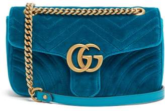 Gucci Gg Marmont Small Quilted Velvet Shoulder Bag - Womens - Green