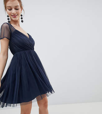 Asos Tulle Mini Dress with Sheer Sleeve
