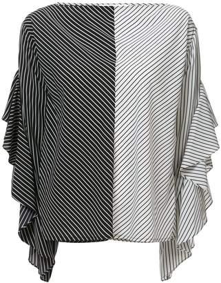 Robert Rodriguez striped ruffle sleeve blouse