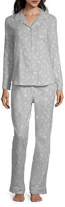 Liz Claiborne Notch Collar Flannel Pajama Set