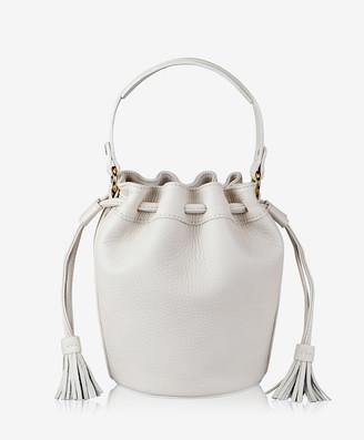 GiGi New York Genevieve Bucket Bag, White Pebble Grain