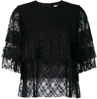 MSGM pleated lace T-shirt