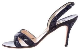Manolo Blahnik Sequin Crossover Sandals
