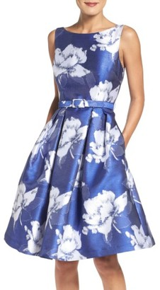 Women's Eliza J Belted Floral Jacquard Midi Dress $188 thestylecure.com