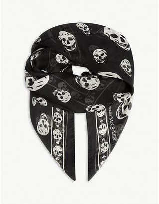 Alexander McQueen Skull print wool-silk scarf