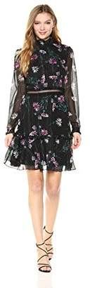 Donna Morgan Women's Mock Neck Floral Dress with Lace Trim