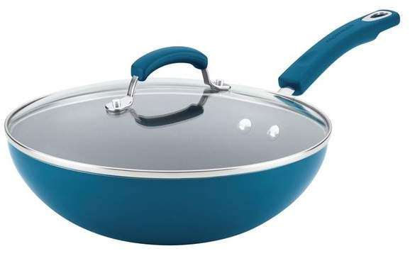 Rachael Ray Aluminum Nonstick Stir Fry Pan With Glass Lid