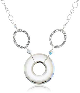 Swarovski Sterling Silver Oval Cable Chain Necklace with Elements Faceted Crystal Silver Shade Circle Pendant