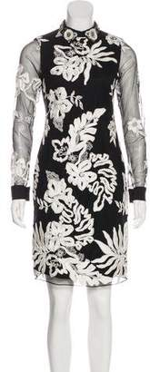 Marchesa Floral Embroidered Knee-Length Dress